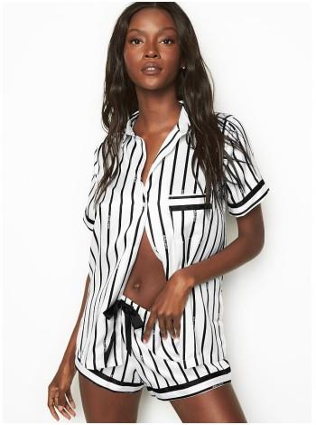 Сатиновая пижама Victoria's Secret The Satin Short PJ Set with Black Stripes