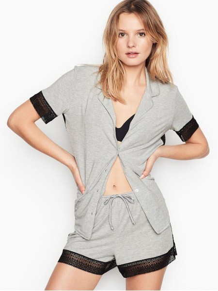 Пижама Victoria's Secret Modal Boxer Pj Set Lace Inset Medium Heather Grey