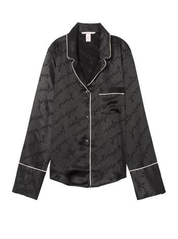ПижамаVictoria's Secret The Satin Black logo PJ Set