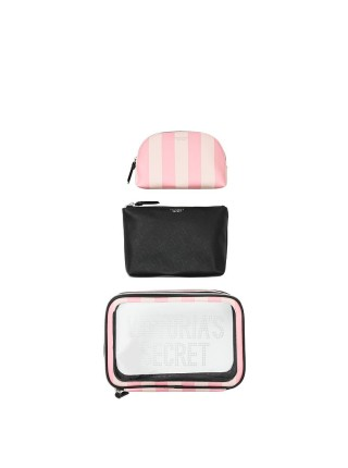 3 в 1 косметичка Victoria's Secret Signature Stripe Backstage Nested Trio