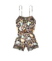 Сатиновая пижама Victoria's Secret Flounce Romper Black Fancy Floral