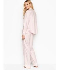Пижама розовая в полоску Victoria's Secret Flannel PJ Set Фланелевая с люрексом