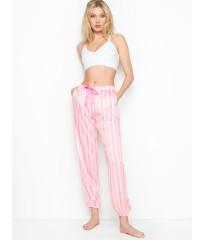 Пижамные штаны Victoria's Secret, сатиновые ,розовые в полоску