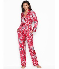 Сатиновая пижама Victoria's Secret Satin PJ set, красная, Lux print Roses