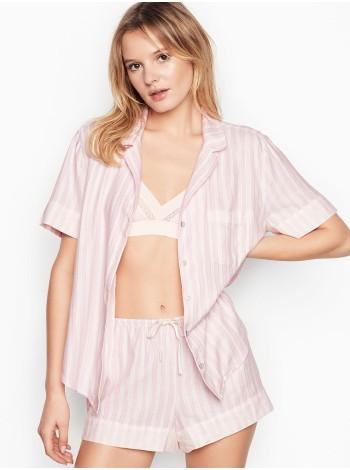 Пижама розовая в полоску Victoria's Secret Flannel Short PJ Set Signature Stripes