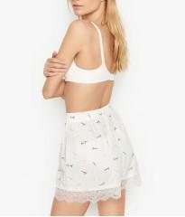 Пижама Victoria's Secret Cotton Short Cami PJ SetWhite & Lace