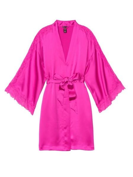 Халат Victoria's Secret Satin Lace Kimono Fuchsia