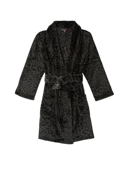 Халат Victoria's Secret Logo Short Cozy Robe Black Leopard