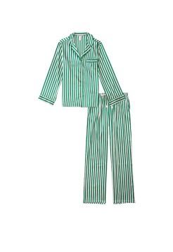 Сатиновая пижама VS Satin Long Pj Set Rainforest Green Stripe