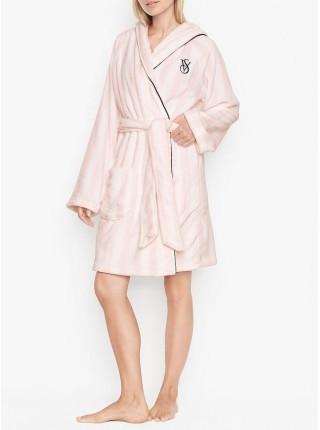 Халат Hooded Short Cozy Robe Pink Stripe