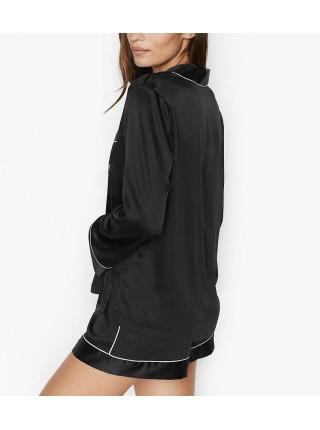 Сатиновая пижама Victoria's SecretThe Satin Short  PJ Set Signature Black