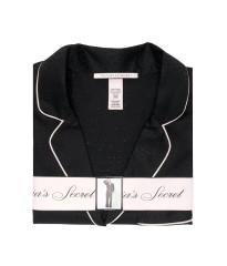 Сатиновая пижама Victoria's Secret The Satin Long PJ Set Rhinestone Black