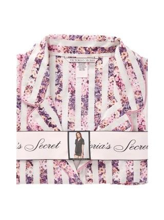 Пижама Victoria's Secret Cotton Short PJ Set Pink Floral Stripe