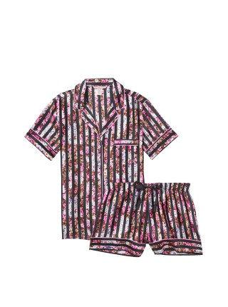 Сатиновая пижама Victoria's Secret Satin Short PJ Set  Floral Stripes