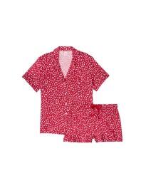 Сатиновая пижама VS Satin Short Pj set Red Hearts