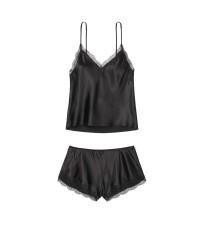 Сатиновая пижама Victoria's Secret satin Pj Set Black