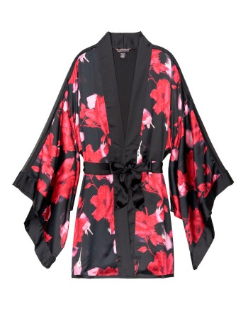 ХАЛАТ SATIN Victoria's Secret - Short Kimono Robe print Black Floral
