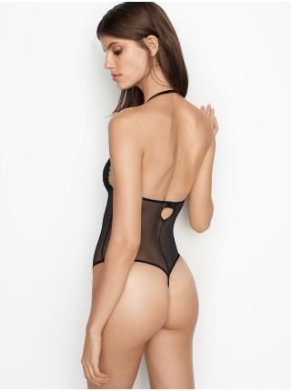 Черное кружевное боди Victoria's Secret