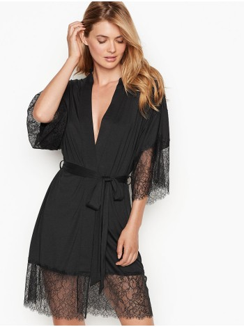 Халат Victoria's Secret Super soft Black Lace Trim Kimono