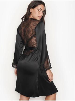 Халат Victoria's Secret Satin Black Lace