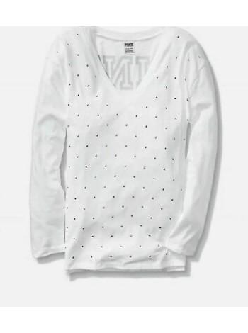Футболка Victoria's Secret PINK SPORT Long, white, sparkle logo