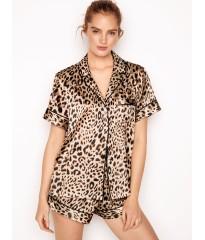 Сатиновая пижама Victoria's Secret The Satin Short PJ SetChampagne Nude Leopard Spots