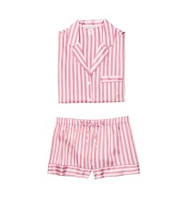 Пижама розовая в полоску Victoria's Secret The Satin Short PJ Set Pink/Mauve Stripe