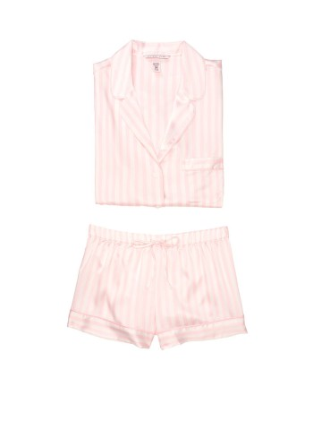 Пижама розовая в полоску Victoria's Secret The Satin Short PJ Set White/Pink Medium Stripe