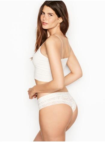 Трусики Victoria's Secret Cheeky, белые чики с кружевом