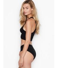 Трусики Victoria's Secret Hiphugger, черные хипхагеры с резинкой лого Виктория Сикрет
