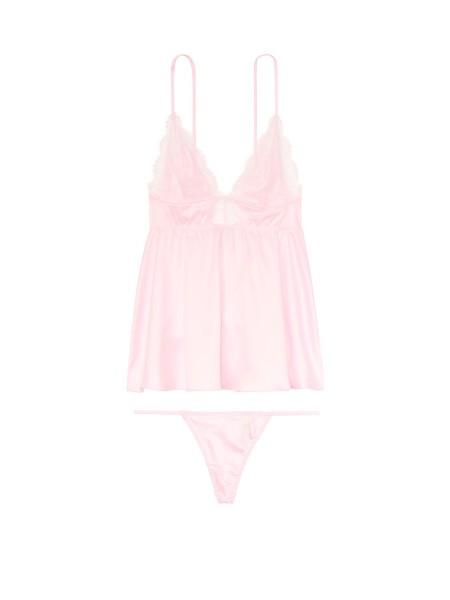 Пеньюар Victoria's Secret Very Sexy Chantilly Lace Babydoll Light Pink Lace Plunge Slip