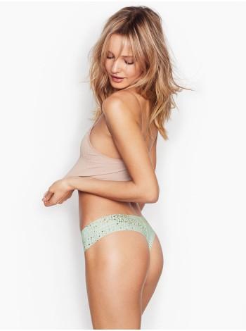 Трусики стринги Victoria's Secret Thong, мятные с принтом звезды