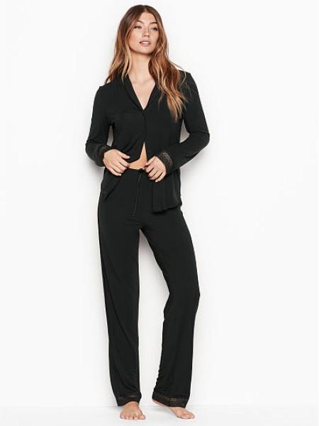 Пижама Victoria's Secret Black Modal Lace Inset Top & Jogger Set