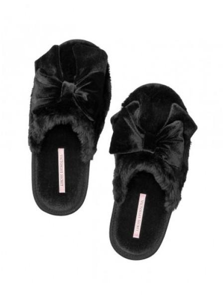 Домашние тапочки Victoria's Secret черные с бантиком
