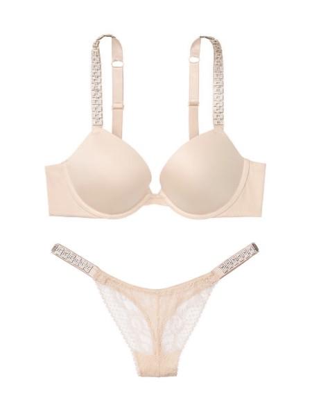 Комплект белья Victoria's Secret Very Sexy Champagne Embellished Strap Push-up Bra set