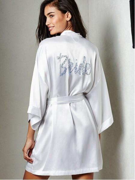 Халат Victoria's Secret satin white Bride logo VS