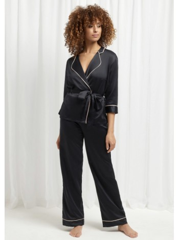 Сатиновая пижама BlueBella WREN KIMONO AND TROUSER SET BLACK