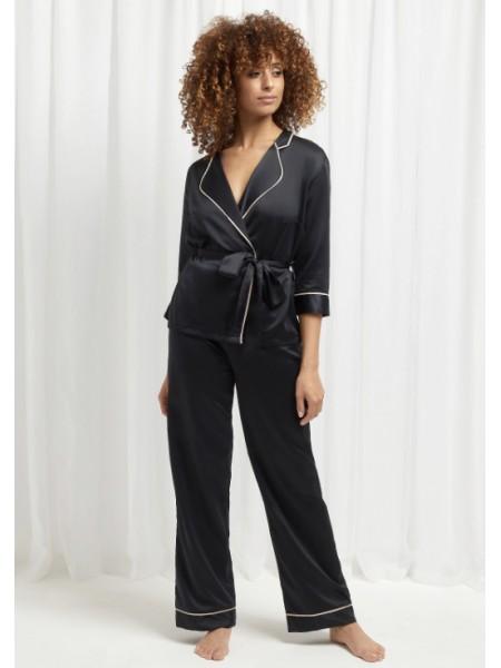 Сатиновая пижама BlueBella Wren KimonoandTrouserSetBlack