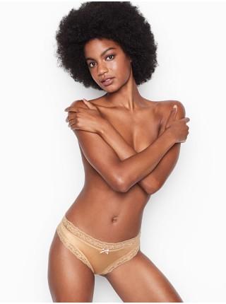 Трусики Victoria's Secret Micro Beige Lace Inset Thong Panty