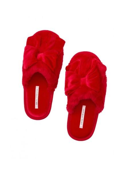 Домашние тапочки Victoria's Secret красные с бантиком