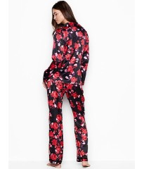 Пижама Victoria's Secret The Satin Long PJ Set Black floral print