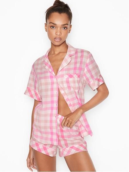 Пижама Victoria's Secret Cotton Short PJ Set White/Pink Spring Plaid