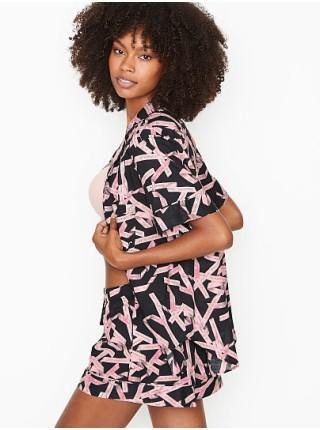 Пижама Victoria's Secret Cotton Short PJ Set print Black/Ballet Ribbon Waves