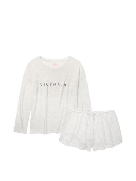 Пижама Виктория Сикрет The Cozy Knit Crewneck & Short Set Love Victoria