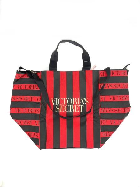 Пляжная сумка Victoria's Secret Red Stripes VS logo