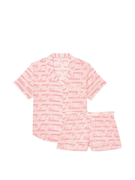 Пижама Victoria's Secret Cotton Short PJ Set Pink logo VS