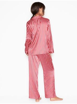 Сатиновая пижама VS Satin Long Pj Set Signature Red Stripe