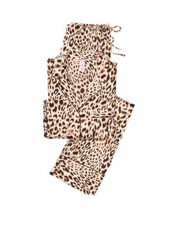 Сатиновая пижама VS Satin Long Pj Set Leopard print