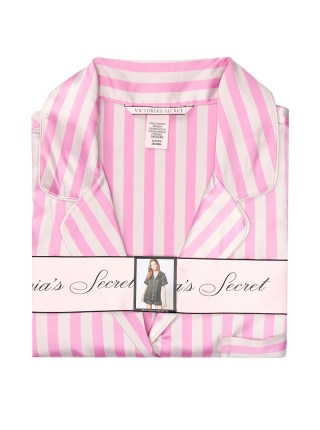 Сатиновая пижама в розовую полоску Victoria's Secret The Satin Short PJ Set Lilac