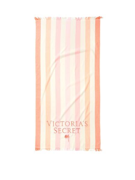 Полотенце для пляжа Victoria's Secret принт в полоску, с лого VS